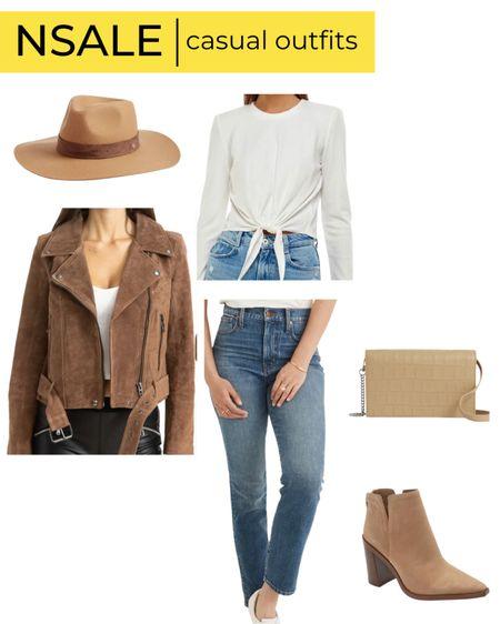 Nsale casual outfit brown moto jacket Madewell jeans booties   #LTKsalealert #LTKunder100 #LTKstyletip