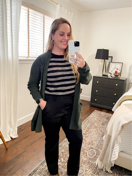 Work outfit of the day, work wear, office outfit, Back to work, back to the office, express pull on pants, boots, booties, loft, jcrew, Kendra scott  #LTKsalealert #LTKworkwear #LTKstyletip