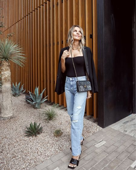 """Joe's jeans """"niki"""", tuxedo blazer, date night look, Chanel bag, blazer outfit, chic outfit, all black outfit, her fashioned life  #LTKstyletip #LTKunder100 #LTKSeasonal"""
