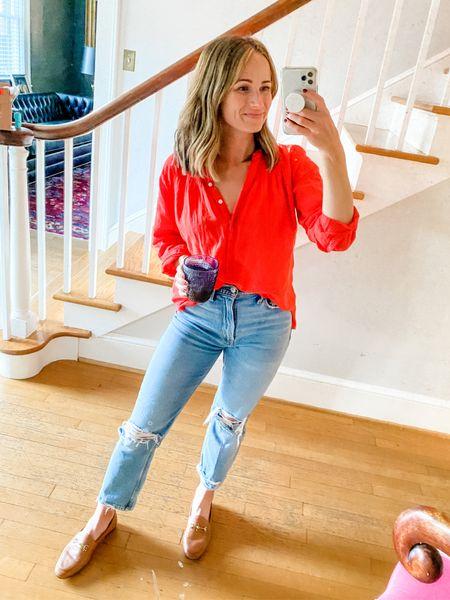 Favorite distressed jeans ever from Abercrombie and under $100. Fit TTS - wearing size 25.   Shirt is super old jcrew so I linked similar ones!   #LTKunder100 #LTKshoecrush #LTKstyletip
