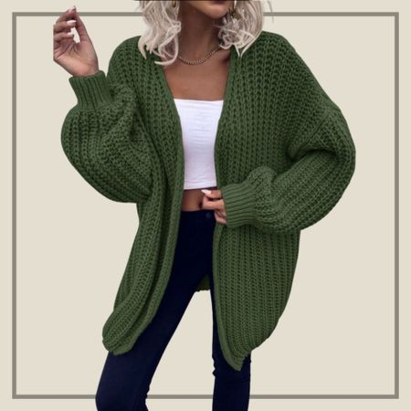 Chunky knit drop shoulder cardigan from Shein   #LTKunder50 #LTKstyletip