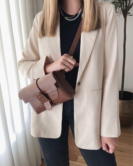Brown leather belt bag 🤍
