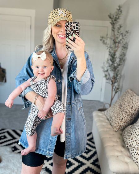 Obsessed with this little blue eyed babe 💗  She'll be on the move soon so I'm soaking in these moments of toting her around with me everywhere 🥰  & I can't get enough of that sweet smile!!   Another day wearing this denim shirt jacket 🙈 Have I convinced you to try it yet? 🤪 Perfect with this #NSALE tank + bike shorts! & Brylee's leopard outfit is on sale + 25% OFF! 🙌🏼   SHOP •••••  #LTKsalealert #LTKbaby #LTKunder50