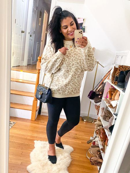 neutral leopard sweater with leather Spanx & mules is the perfect fall outfit! Shoes are 54% off! #liketkit http://liketk.it/2Yn72  @liketoknow.it #amazon #amazonfinds #amazonfashion #spanx #spanxleggings #ltkcurves  #LTKunder50 #LTKsalealert #LTKFall