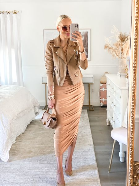 Victoria Emerson accessories. Suede moto jacket brown. Nude bodycon dress. Neutral style. Fall style.   #LTKGiftGuide #LTKstyletip #LTKSeasonal