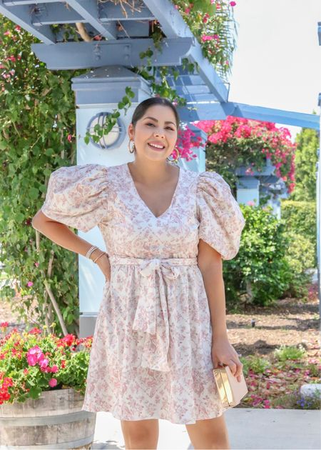 Puff sleeve dress on sale as part of the LTK early gifting sale, wedding guest dress, fall floral dress  #LTKSale #LTKDay #LTKwedding