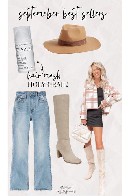 Top sellers for fall trends  Fall styles Flare jeans Wife brim hat and shacket Olaplex hair mask     #LTKshoecrush #LTKsalealert #LTKstyletip