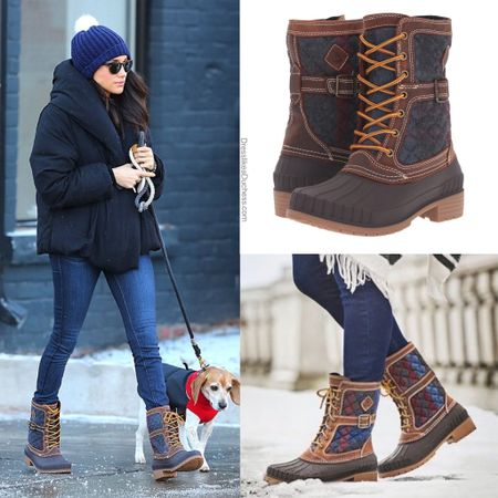 Meghan wearing Kamik sienna duck boots #rain #cold #winter #boots #quilted #sperry #booties   #LTKstyletip #LTKshoecrush