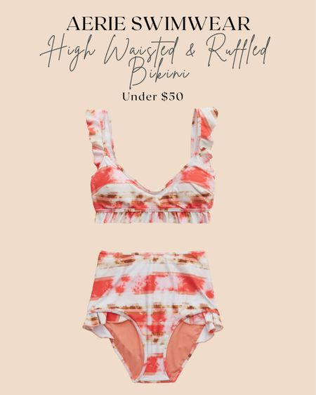 Aerie High Wasted & Ruffled Bikini under $50. I'll be wearing this on my girls trip to the lake!  http://liketk.it/3fVnc #liketkit @liketoknow.it