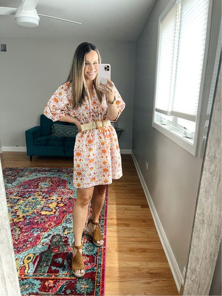 Target Finds: This baby doll dress is so cute and on sale! I added this belt for a more fitted look! This belt and brown wedges are both amazon finds. It would make a cute vacation outfit, wearing a size small, it runs super big.  #LTKsalealert #LTKstyletip #LTKshoecrush
