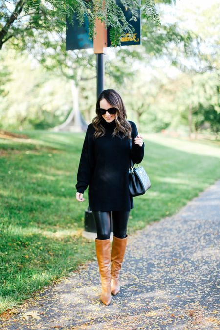 Black tunic, faux leather leggings, knee high boots   #LTKstyletip