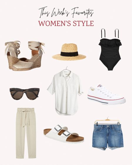 These are some of the top sellers for the week in women's style. I can see why! This swimsuit, beach hat, sandals, sunglasses and oversized top are perfect for summer.   Follow me for more ideas and sales.   #LTKswim #LTKunder50 #LTKSeasonal