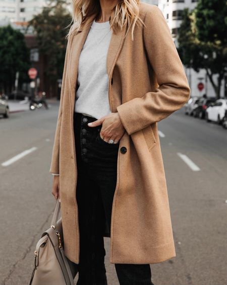 Such a good camel coat for fall and it's back in stock! I wear a size small #falloutfits #camelcoat  #LTKsalealert #LTKunder100 #LTKstyletip