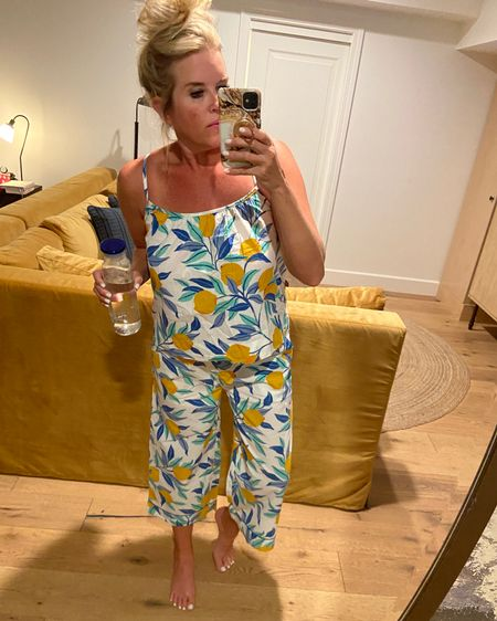 When your @printfresh Pj match the sofa and pillows🍋 You snap a pick….. 🍋 Several Pj are on major sale… and you can stack my code 🍋🍋🍋  DARCYVANDENBERG for an additional 15% off sitewide.🎉🎉🎉 . Wear TTS I am in a Med 🍋 You can't go wrong with any style… I love  every pair✔️ . .   #LTKsalealert #LTKstyletip #LTKtravel