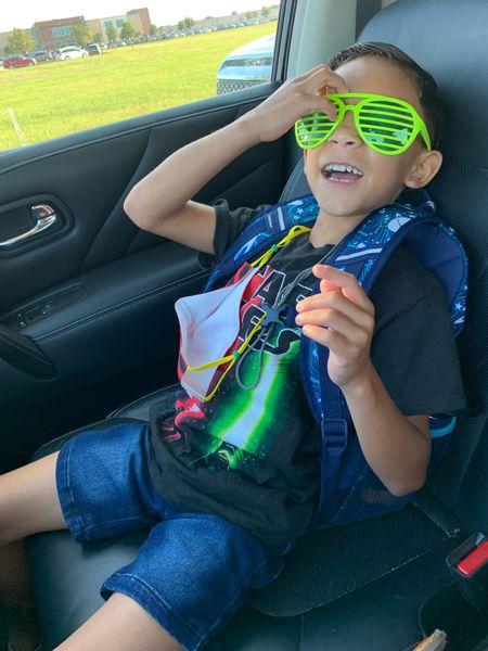 Little man wanted to wear his Star Wars Shirt.  Silly Kids 😎 Drop off fun with this little man. #Kiddos #StarWars #Sunglasses #Mask #MomLife #BacktoSchool   #LTKkids #LTKbacktoschool