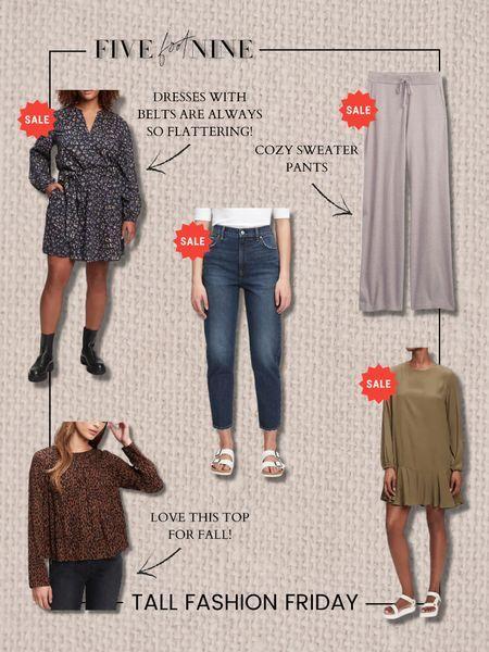 Tall fashion Friday picks! Fall dresses, leopard top, sweater pants, mom jeans   #LTKunder100 #LTKSeasonal #LTKsalealert