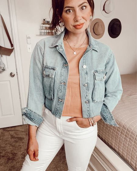 Kell Parker cropped denim jacket and designer inspired sandals! Use code 'thedenimdiaries' for a discount!   http://liketk.it/3gOjT #liketkit @liketoknow.it