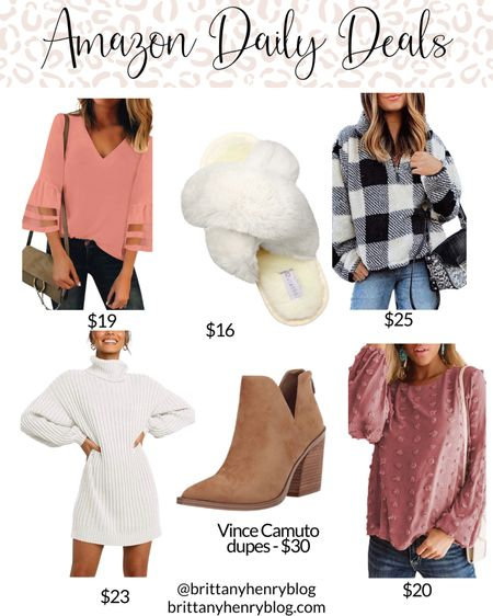 Amazon fashion / amazon clothes / amazon deals / amazon sale / daily deals / Vince camuto booties dupe / sweater dress / slippers / Buffalo check / sherpa pullover #liketkit @liketoknow.it   #LTKunder50 #LTKsalealert #LTKshoecrush
