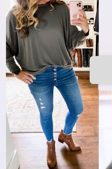 Outfit of the day fall outfits high rise distressed button fly skinny jeans pumpkin patch outfit and attire mom clothes try on kut from the kloth oversize dolman sweatshirt   Follow my shop @brunoandlibby on the @shop.LTK app to shop this post and get my exclusive app-only content!  #LTKshoecrush #LTKSeasonal #LTKstyletip