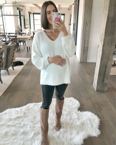 F A S H I O N // Furry feels with this winter white beauty!!🤩 Under $25 and legit, SO cozy!! NO itchy knits up in hurrrrr! Shop it on the @liketoknow.it app! I'm wearing a M🙋🏻♀️ #sweater #sweaterweather #knit #cozy #fall #ltkfall #fallfashion #falloutfit #leggings #boots #liketkit #LTKbump #LTKunder50 #LTKstyletip // http://liketk.it/2EISJ