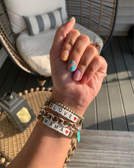 The styled collection mosiac tile bracelets. Target home. Nail inspo. Negative space manicure. Gel manicure. Summer nails. Mama bracelet. Love bracelet. @liketoknow.it http://liketk.it/3hmvp #liketkit #LTKDay #LTKsalealert  #LTKhome
