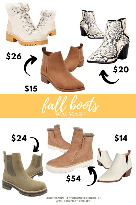 Must have fall boots and fall booties from Walmart. Most under $30, all under $60. 👏🏼 #walmartfinds #fallboots #fallbooties  #LTKSeasonal #LTKunder50 #LTKstyletip