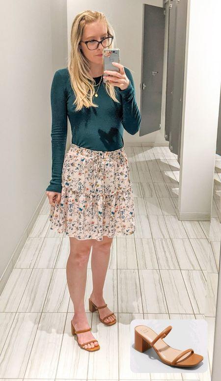 Work OOTD with new sandals from Target! Amazon printed skirt, Target square toe heels.    #LTKSeasonal #LTKshoecrush #LTKworkwear