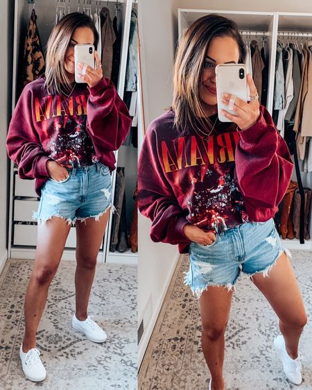 "Nirvana graphic sweatshirt restocked + denim shorts 35% off at checkout!! // loungewear jean shorts white sneakers — Sweatshirt - S/M (very oversized) Shorts - 25 (TTS) Sneakers - TTS Sports Bra - S (TTS) My measurements: 5'2"" and 110-115lbs   http://liketk.it/2O6wC @liketoknow.it #liketkit #StayHomeWithLTK #LTKsalealert #LTKunder100"