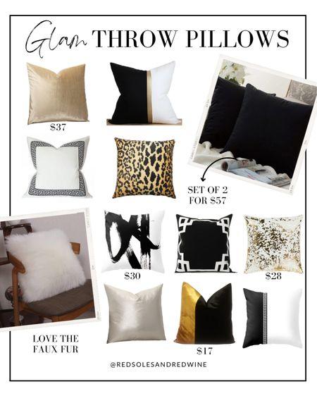 Glam throw pillows, pretty throw pillows, black and white throw pillows, leopard throw pillows, gold throw pillows #throwpillows #homedecor #glamhome   #LTKstyletip #LTKhome #LTKunder100