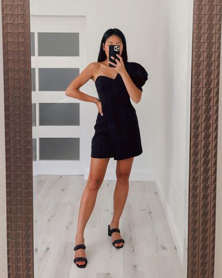 Black mini dress one shoulder sweetheart cut and black heels from express. Wearing size small in dress and 7 in heels (I should have done 7.5 in heels)   #LTKstyletip #LTKshoecrush #LTKunder100