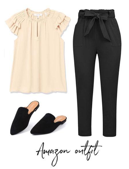Ruffle sleeve top, bow pants, paper bag pants, Amazon top, Amazon Fashion, Amazon finds  #LTKunder50 #LTKstyletip