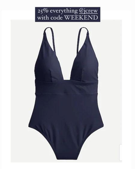 Navy blue one pieces from j crew. I wear a size 4 in their swim suits! Get 25% off with code WEEKEND http://liketk.it/3gd1i #liketkit @liketoknow.it #LTKswim #LTKsalealert