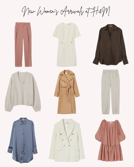New women's clothing at H&M, pants, sweaters, dresses, shirts, blouses, jackets, trench coat, fall, workwear   Follow me for more ideas and sales.   Double tap this post to save it for later.   #LTKSeasonal #LTKstyletip #LTKunder50