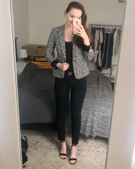 http://liketk.it/3jcj5 #liketkit @liketoknow.it #LTKworkwear business casual, leopard blazer, black skinny jeans, black block heel sandals, realtor outfits, real estate style, all black outfit