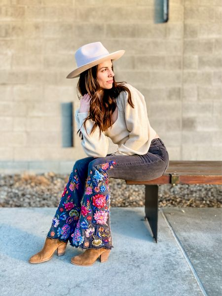 Gigi Pip wide brim hat | bubble sleeve sweater | free people | embroidered flare jeans | dolce vita bootie | spring outfit | spring Fashion | Amazon Fashion  Shop my daily looks by following me on the LIKEtoKNOW.it shopping app.   #LTKSeasonal #LTKstyletip #LTKunder100