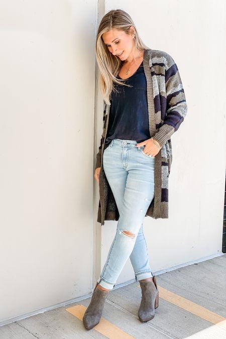 Long sleeve camo cardigan from Target. Wearing size xs. Steve Madden booties run tts. Size up one in distressed skinny jeans.  #LTKstyletip #LTKshoecrush #LTKSeasonal
