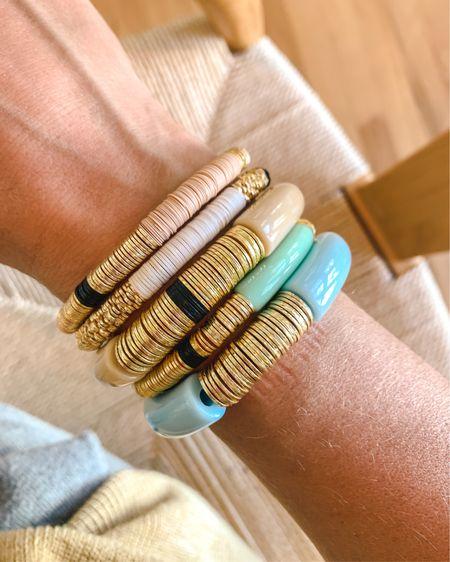 Bracelet stacks, love these spring pastel bracelets so much! http://liketk.it/3dNiO #liketkit @liketoknow.it #LTKstyletip