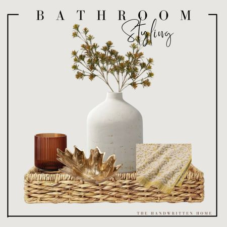Fall bathroom decor  This could easily be added to any table for fall whether you're styling a kitchen table, a coffee table or an entryway table.  Fall entryway   fall bathroom decor   fall centerpiece   fall kitchen decor   stoneware vase   fall florals   fluted vase   brass home decor   #LTKunder50 #LTKhome #LTKSeasonal