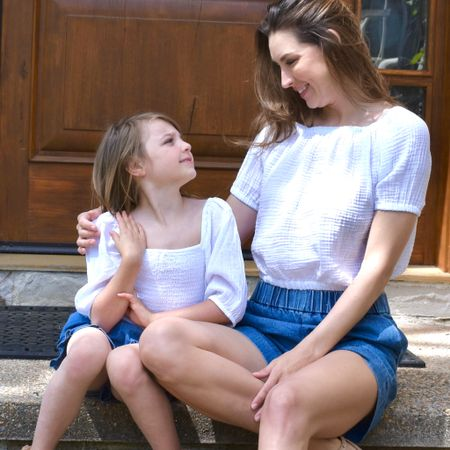 School's out for summer! Matching mommy and me looks for moms and little girls #mommyandme #littlegirls #shorts #traveloutfits #girlsclothes #denimshorts  #LTKkids #LTKfamily #LTKtravel