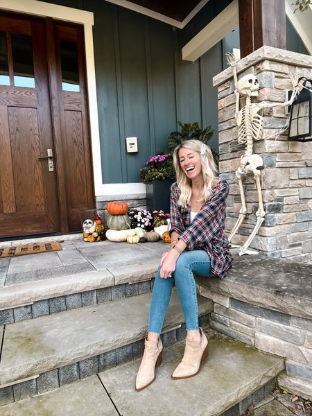 Todays caption is sponsored by the fact that my ten year old got $20 out of me to take down the trash and recycling cans last night.   😂 listen. It's cold, dark, and raining, AND next week is the book fair so that's justification, right?!  Linking this cute fall 'fit and ol' grey bones back there here:   #LTKstyletip #LTKSeasonal #LTKhome