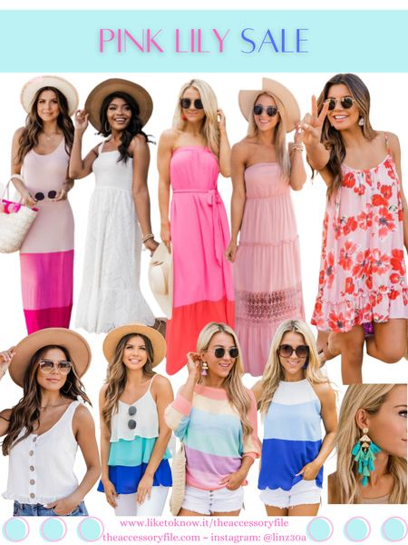 Pink Lily sale - up to 50% off   Wedding guest dresses, summer dress, long dress, maxi dress, midi dress, cute tops, summer top, colorblock top, costume jewelry, fun earrings, summer look, summer outfit, summer fashion, date night look, affordable    http://liketk.it/3hGae #liketkit @liketoknow.it #LTKsalealert #LTKwedding #LTKstyletip