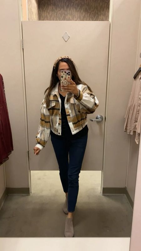 Such a cute jacket for fall! Love the plaid love the fall colors! It's better than a reg shackit. Cropped with bubble sleeves   #LTKSeasonal #LTKbacktoschool #LTKstyletip