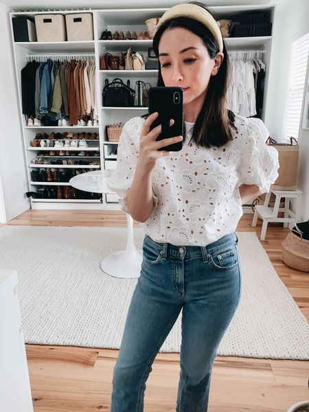 Embroidered blouse. Eyelet top.   Top - Sezane 4 (old) Jeans - Rag & Bone 24 (old) Headband - & Other Stories (old)  http://liketk.it/38pr0 #liketkit @liketoknow.it