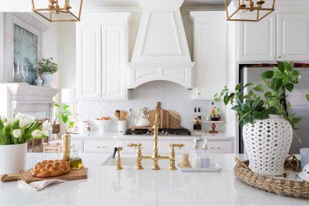 kitchen decor, kitchen spring decor, spring decor, target decor, studio McGee, target style, white kitchen, brass kitchen faucet. #liketkit @liketoknow.it http://liketk.it/3aQzM @liketoknow.it.home
