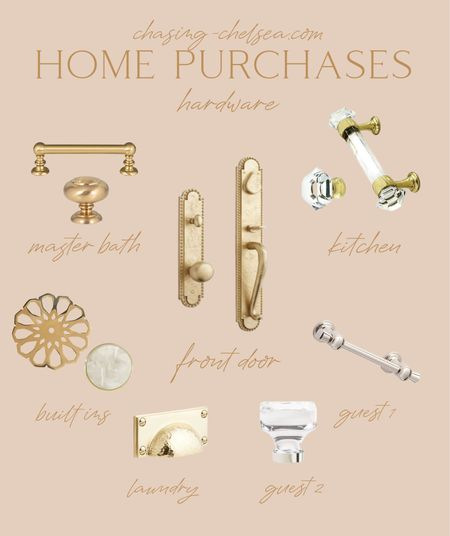 """Our front door hardware is on mega sale today!  laundry room is signature hw: no aff link but google """"hammered rectangle brass cup pull"""" gold home hardware Kitchen cabinet pulls gold drawer oull Chrome glass knob backplate pretty bathroom knobs hammered brass bin pull Home decor Interior design New build   #LTKhome #LTKunder100 #LTKunder50"""