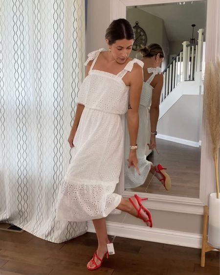 red dress white eyelet dress, gorgeous red heels http://liketk.it/3jSnx #liketkit @liketoknow.it #LTKshoecrush #LTKstyletip #LTKunder100