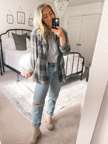 Feeling the 90s looks for fall! These jeans are so comfy and less than $60! I took my usual size! 90s vibe, straight leg jeans, fall clothes   #LTKstyletip #LTKunder100 #LTKSeasonal