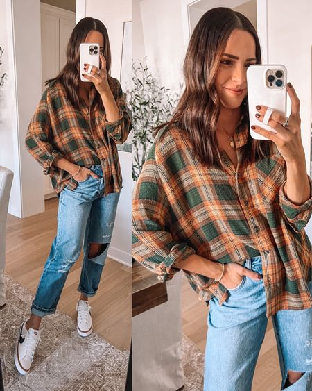 Flannel shirt: true to size (S) oversized fit  Jeans: true to size, size up for boyfriend fit Sneakers: true to size, size up if between Electric picks necklace code TAYLOR20  - Urban outfitters, forever 21   #LTKunder50 #LTKSeasonal #LTKshoecrush