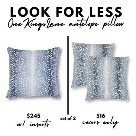 LOOK FOR LESS One Kings Lane antelope pillow, blue, animal print, fall decor, decorating, Amazon Home   #LTKhome #LTKSale #LTKunder50