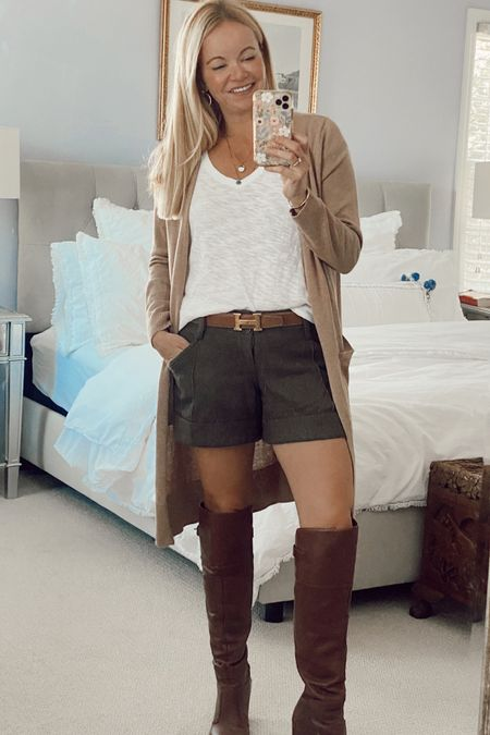 Fall transition outfit. Cardigan. Over the knee boots.  #LTKunder50 #LTKstyletip #LTKSeasonal
